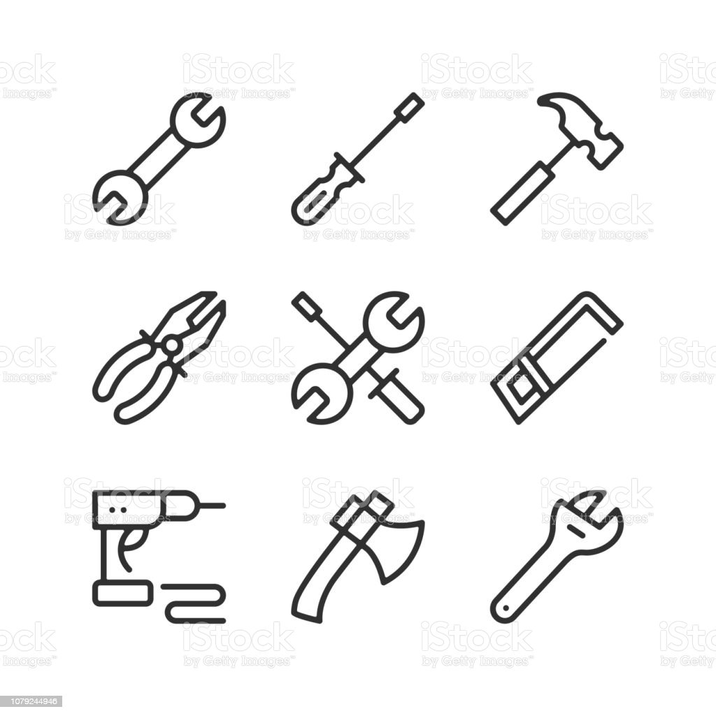 Tools line icons set. Outline elements, linear signs, simple symbols collection. Modern graphic design concepts. Vector line icons vector art illustration