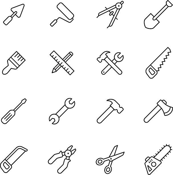 stockillustraties, clipart, cartoons en iconen met tools line icons - saw