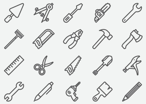 tools line icons - mechanic stock illustrations, clip art, cartoons, & icons
