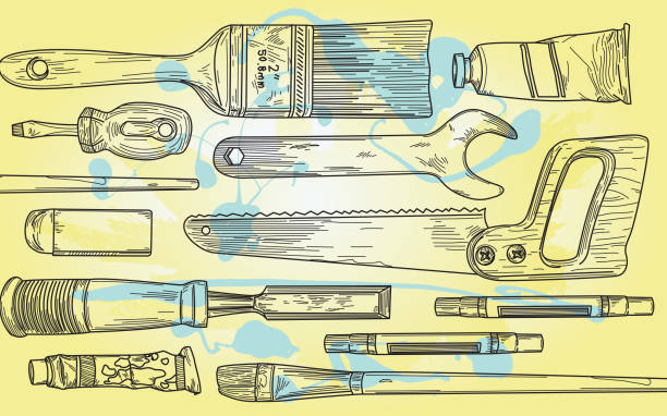 Tools of the Trades - Art and Construction vector art illustration