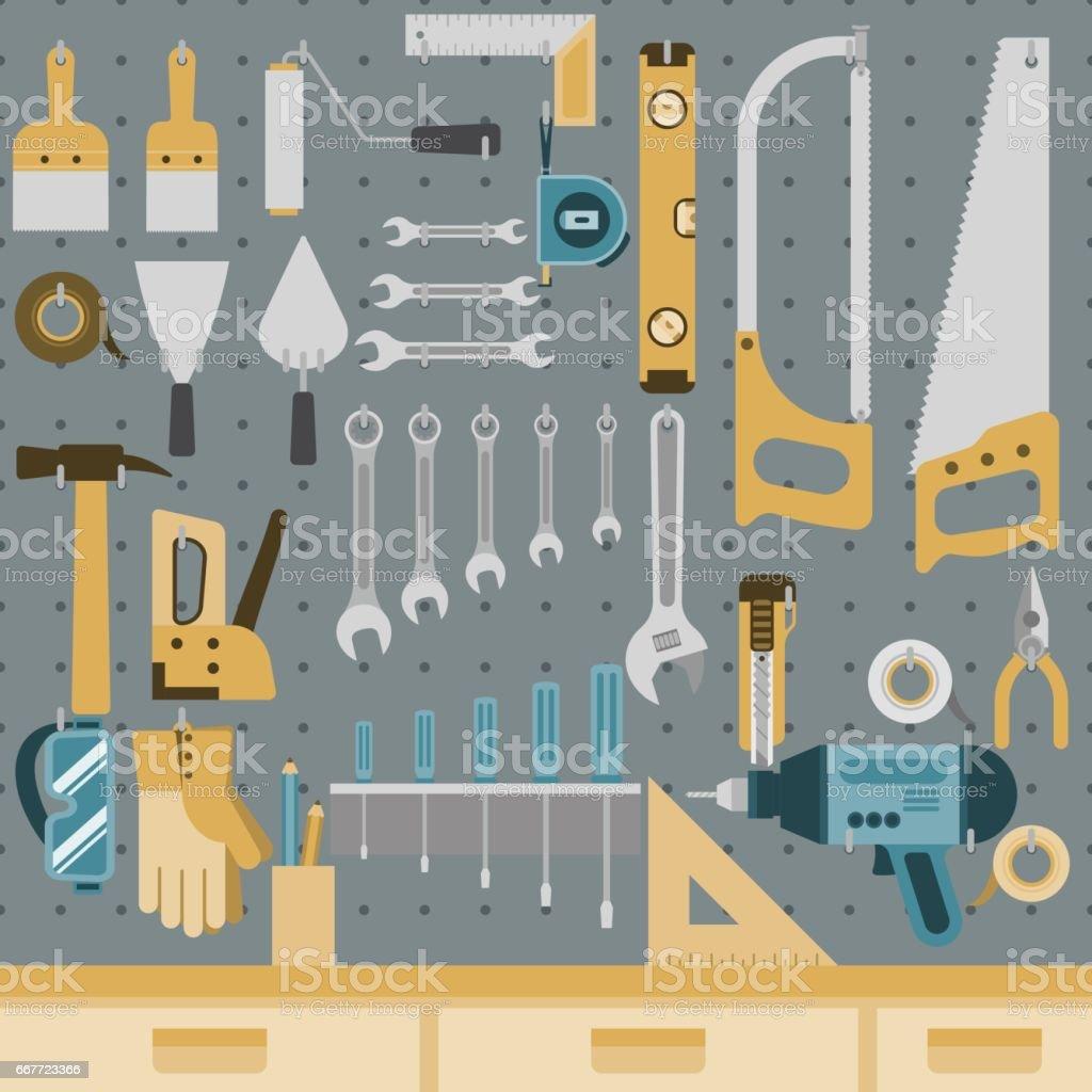 Outils à bord de la cheville - Illustration vectorielle