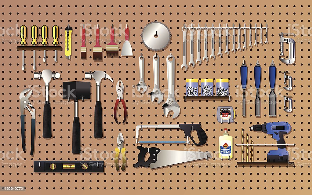 Tools on the wall royalty-free tools on the wall stock vector art & more images of cartoon