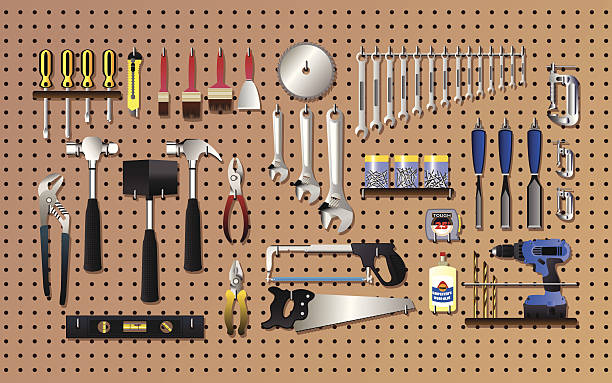 Tools on the wall vector art illustration
