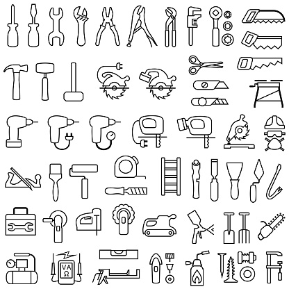 Tools Outline Icons for Home Improvement, Decorating and Construction.