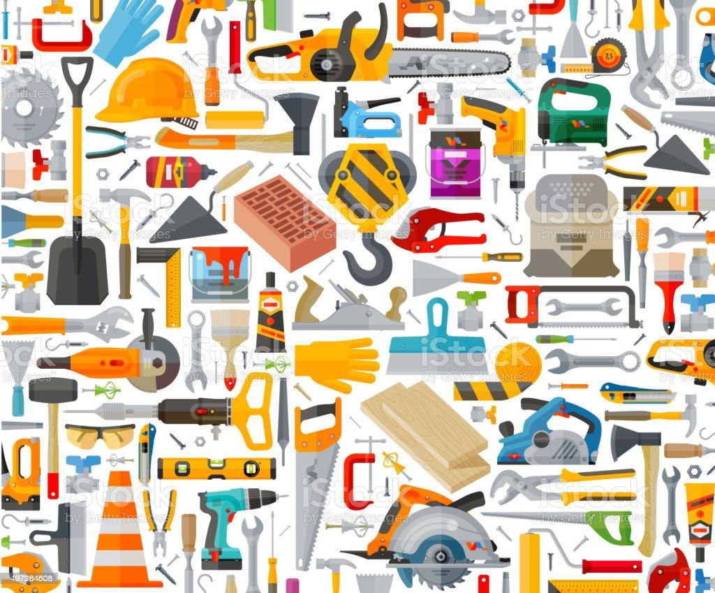 tools set icons. signs and symbols vector art illustration