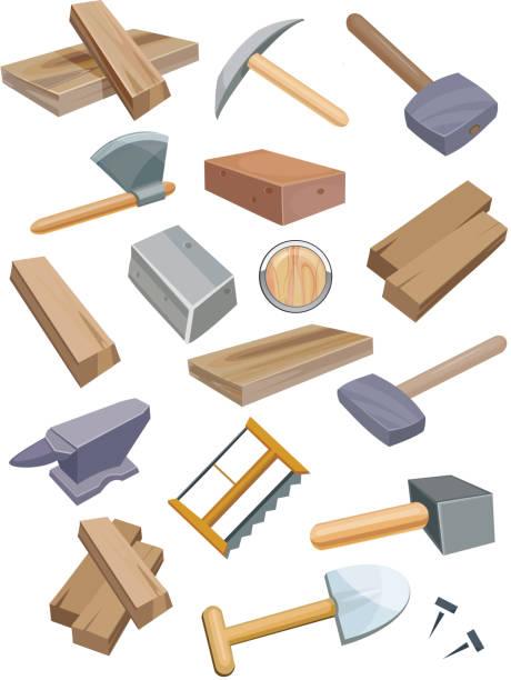 werkzeuge set - nagelplatte stock-grafiken, -clipart, -cartoons und -symbole