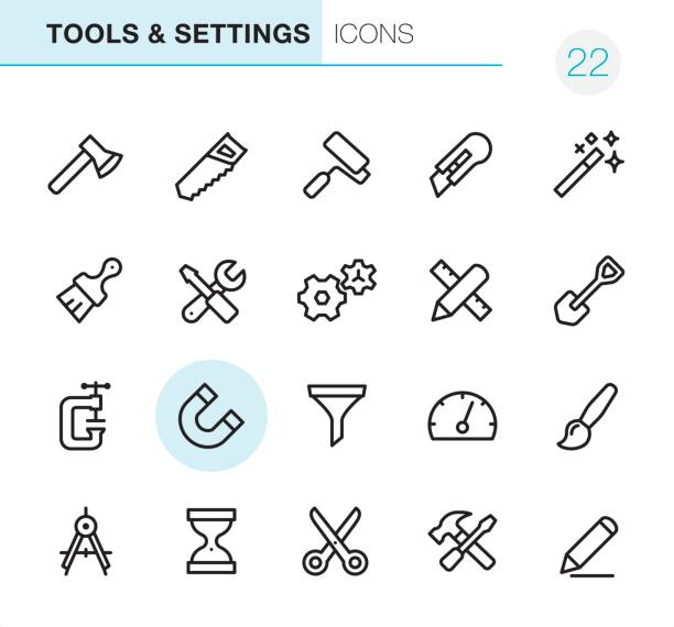 Tools & Settings - Pixel Perfect icons 20 Outline Style - Black line - Pixel Perfect icons / Set #22 utility knife stock illustrations