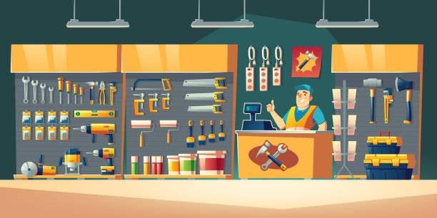 Werkzeugladen, Hardware-Bauwerkstatt-Interieur – Vektorgrafik