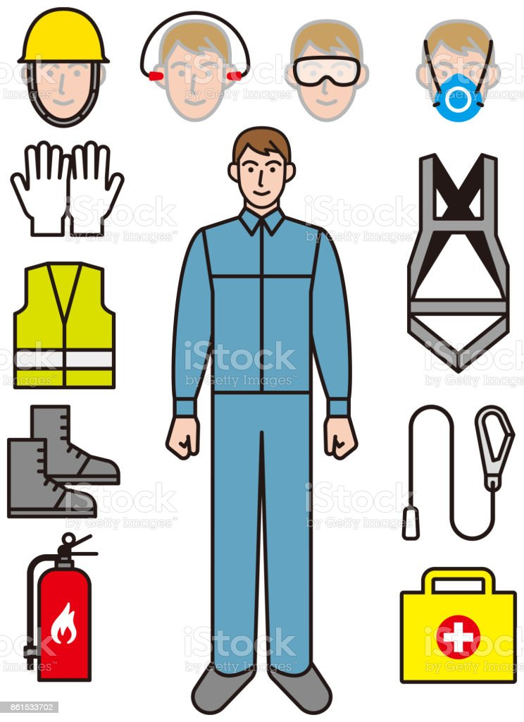 Herramientas para proteger a los trabajadores - ilustración de arte vectorial