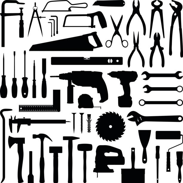 Tools Construction tool collection - vector silhouette nail work tool stock illustrations