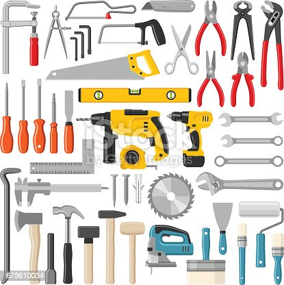 Construction and working tool collection - vector color illustration