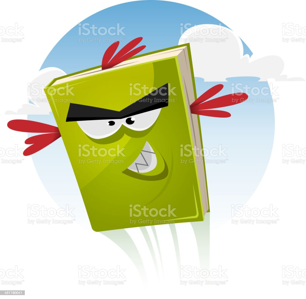 Toon Bird Book Character Flying royalty-free stock vector art