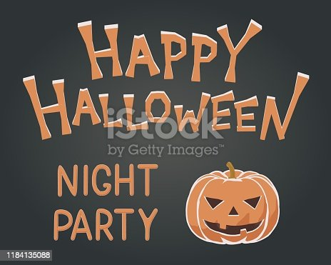 istock Toon flat vector illustration of spooky happy Halloween mascot. Kids style for night party with fun orange pumpkin. Greeting invitation with cutout Halloween monster character for october event. 1184135088