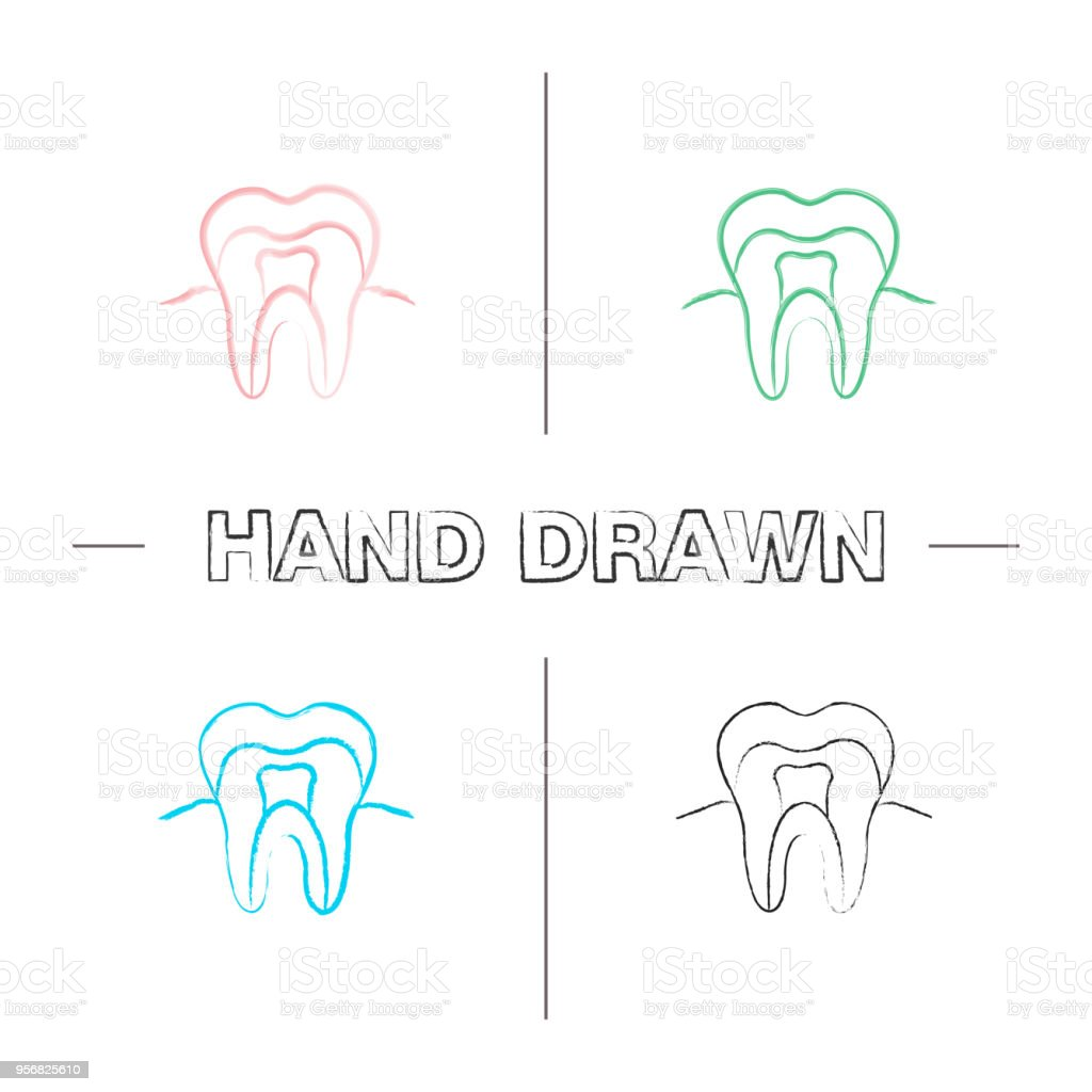 Tooth Anatomical Structure Icons Stock Vector Art & More Images of ...