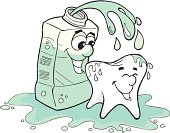 A cartoon of human tooth taking shower with mouthwash