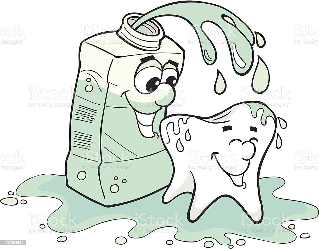 Tooth and Mouthwash vector art illustration