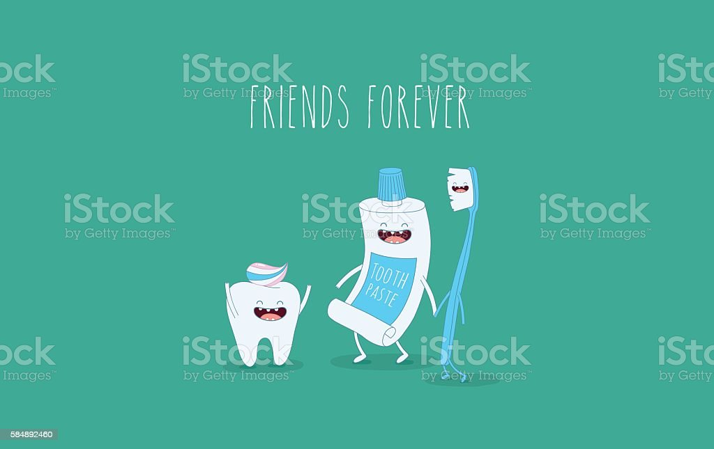 tooth and toothbrush vector art illustration
