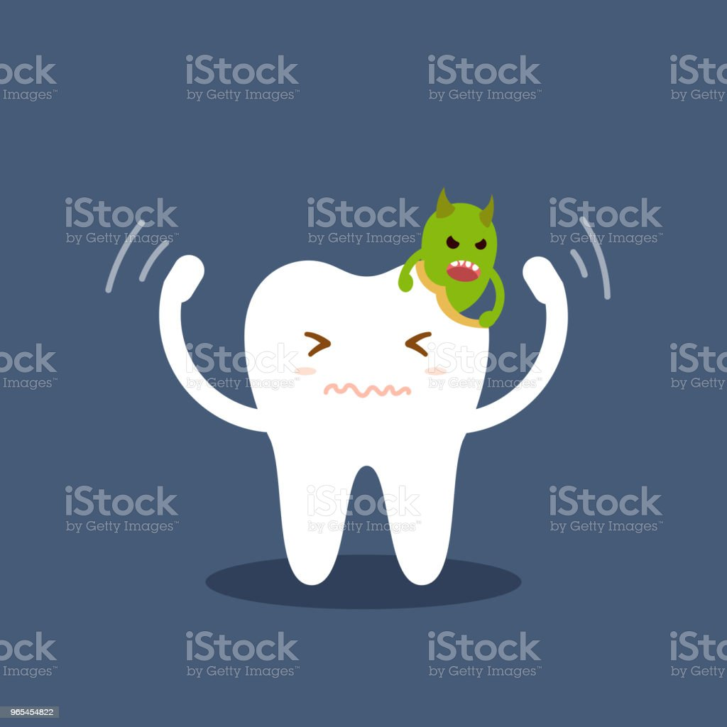 Tooth attacked by germs of caries. Cartoon flat vector illustration isolated on blue background. Dental kids care. Illustration on the theme of dentistry. royalty-free tooth attacked by germs of caries cartoon flat vector illustration isolated on blue background dental kids care illustration on the theme of dentistry stock vector art & more images of backgrounds