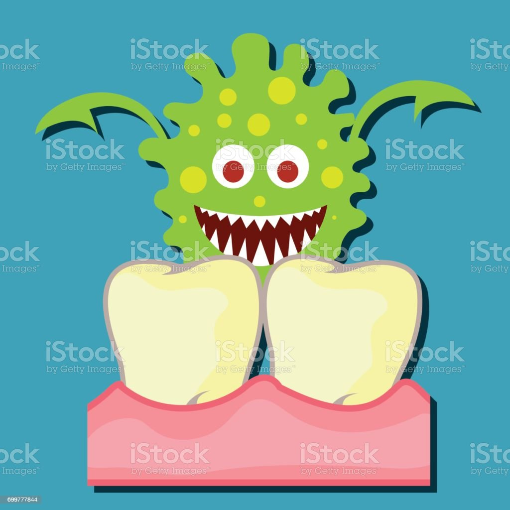 tooth bacteria and tooth for dentistry / stomatologist / dental clinic poster. flat vector illustration vector art illustration