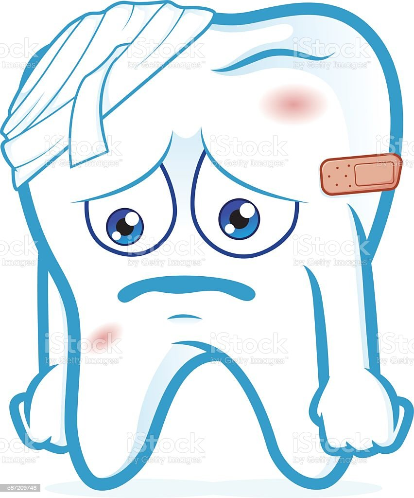 Tooth be injured vector art illustration