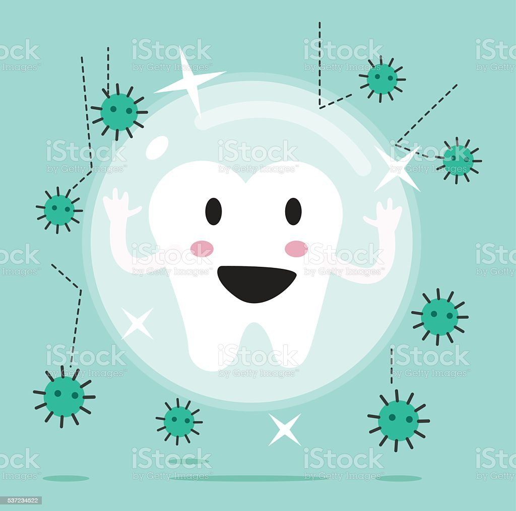 tooth being protected from decay or bacteria. vector art illustration