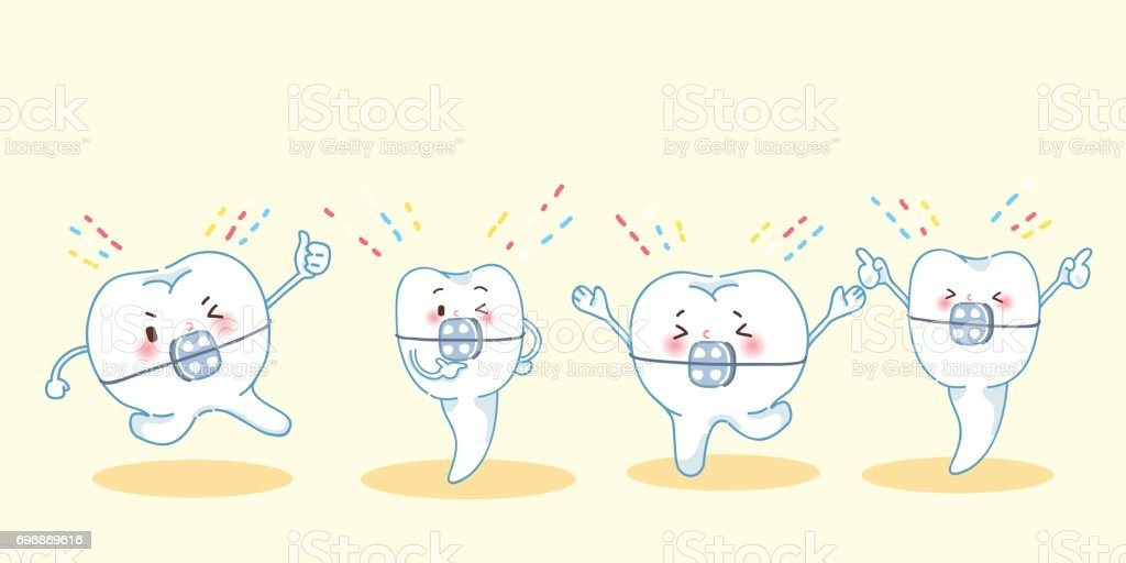 tooth brace feel excited vector art illustration