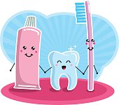 A tooth, a tooth brush and a tube of  toothpaste, holding hands and generaly feeling happy.