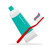 istock tooth brush and paste icon with shadow. Flat design modern vector illustration 1253071923