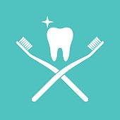 Brush teeth icon silhouette. Healthy tooth pictogram between two cross toothbrushes. Dentistry symbol. Vector illustration flat design. Isolated on white background. Sign of good oral hygiene.