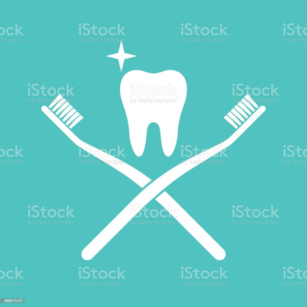 tooth brush and tooth vector art illustration