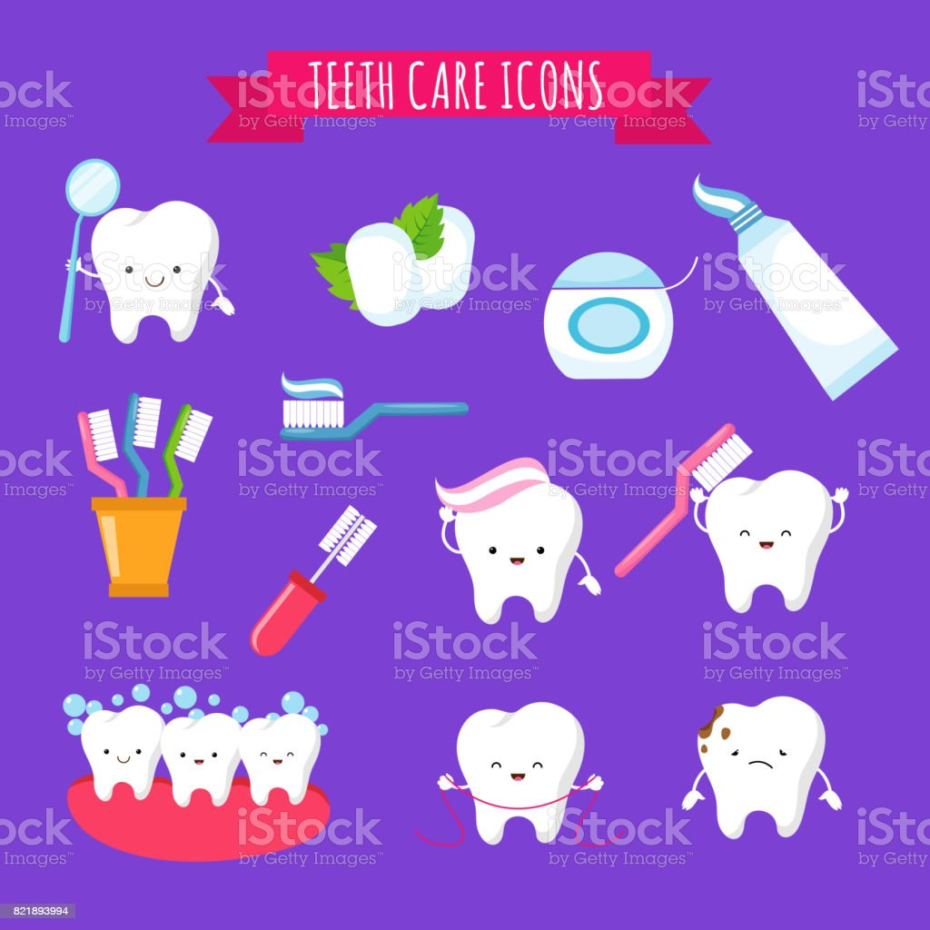 Tooth brushing and dental care cute cartoon icons for kids. Funny teeth with toothbrush and toothpaste vector art illustration