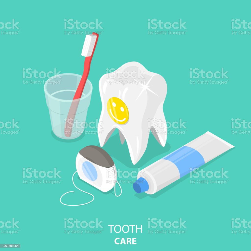 Tooth care flat isometric vector. vector art illustration