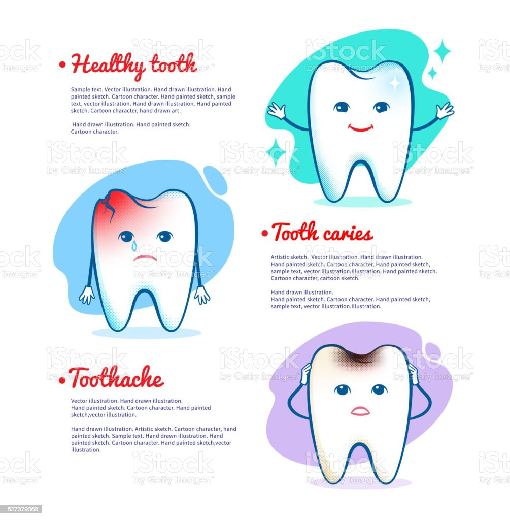 Tooth caries and healthy tooth concept vector art illustration