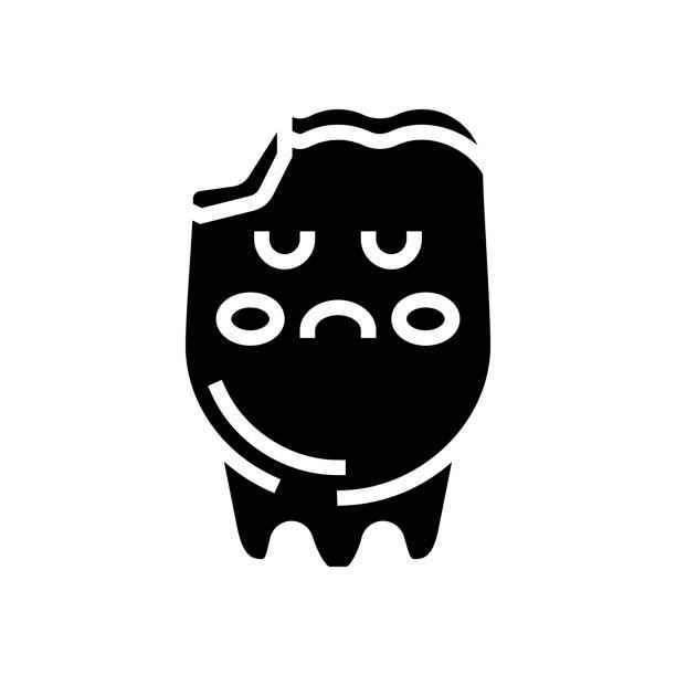tooth caries glyph icon vector illustration tooth caries glyph icon vector. tooth caries sign. isolated contour symbol black illustration streptococcus mutans stock illustrations