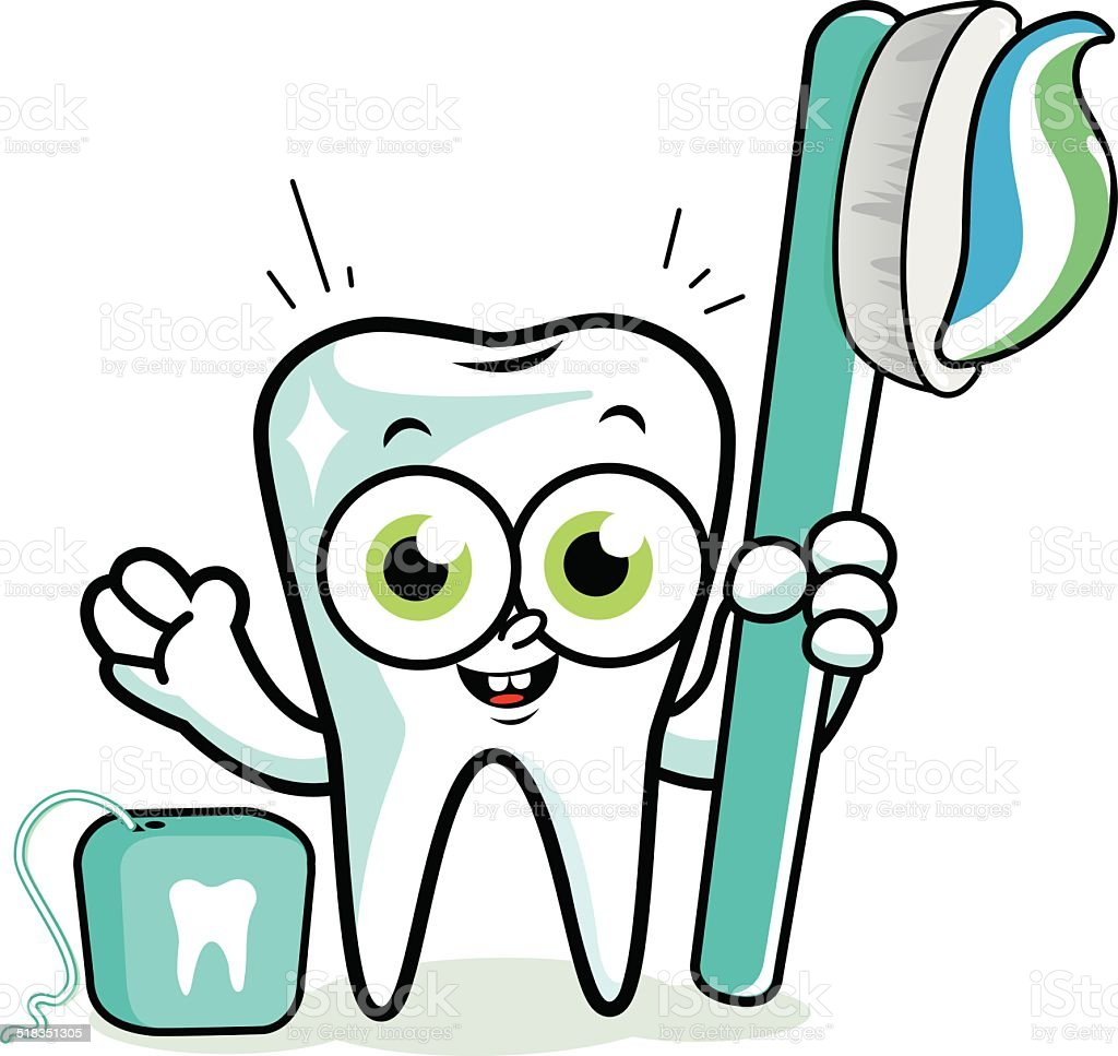 3df9e851e Tooth cartoon character holding toothbrush and dental floss royalty-free  tooth cartoon character holding toothbrush