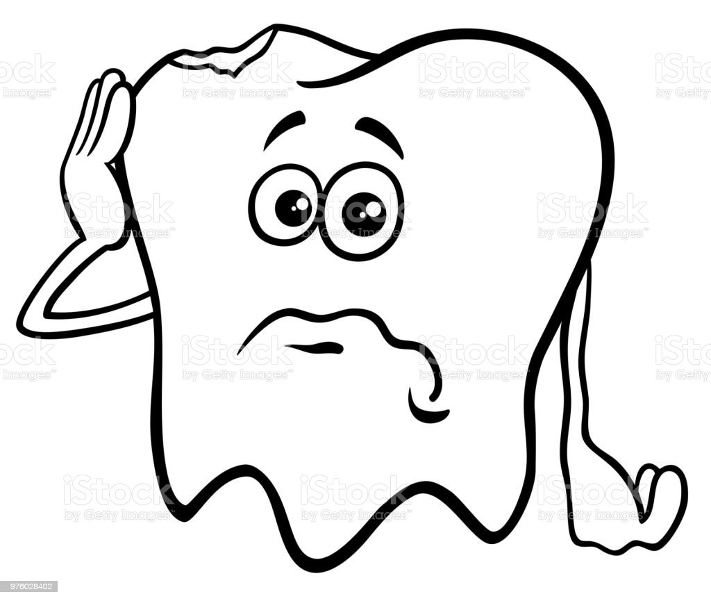 Tooth Cartoon Character With Cavity Color Book Stock ...