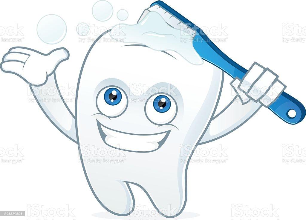 Mascotte dent de dessin anim se brosser les dents - Dessin de dent ...
