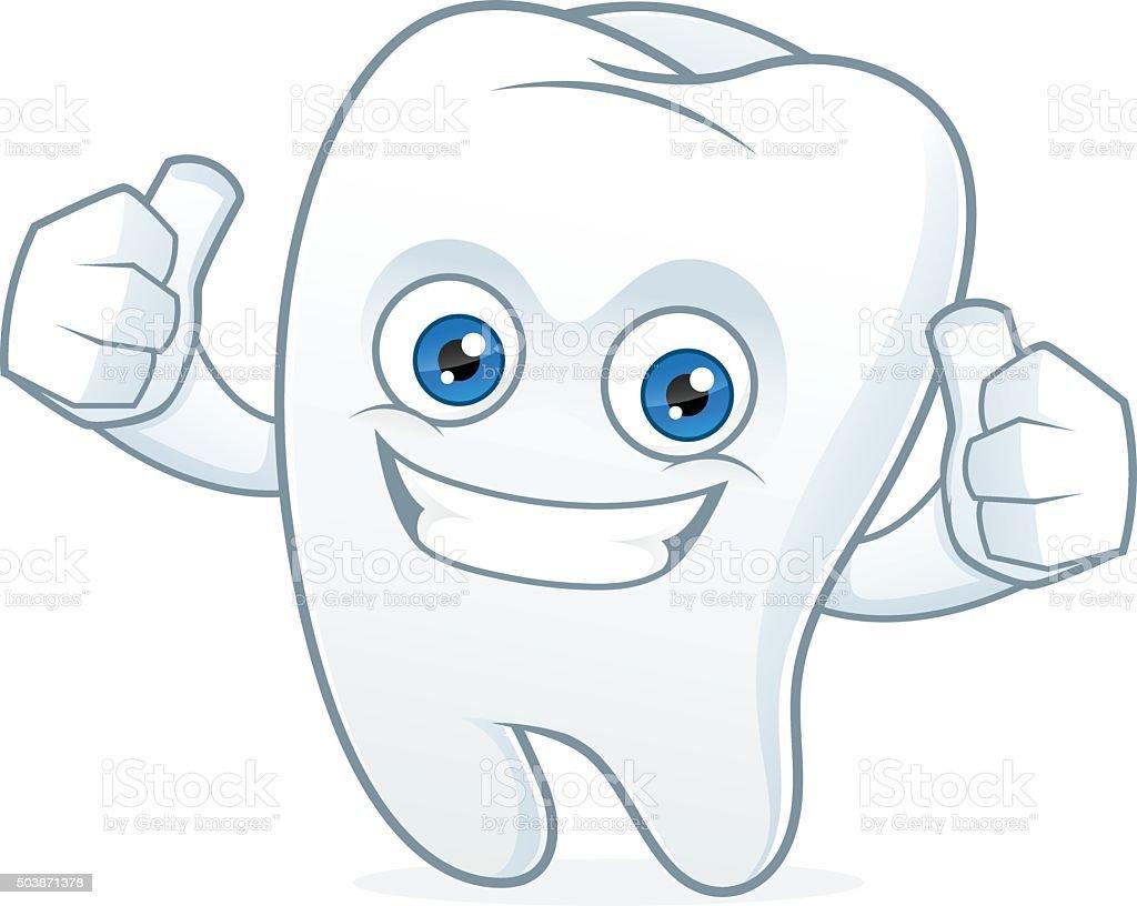 Dent heureuse en dessin anim mascotte propre et - Dessin de dent ...