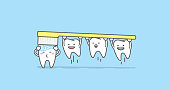 Tooth character brushing teeth illustration vector on blue background. Dental concept.