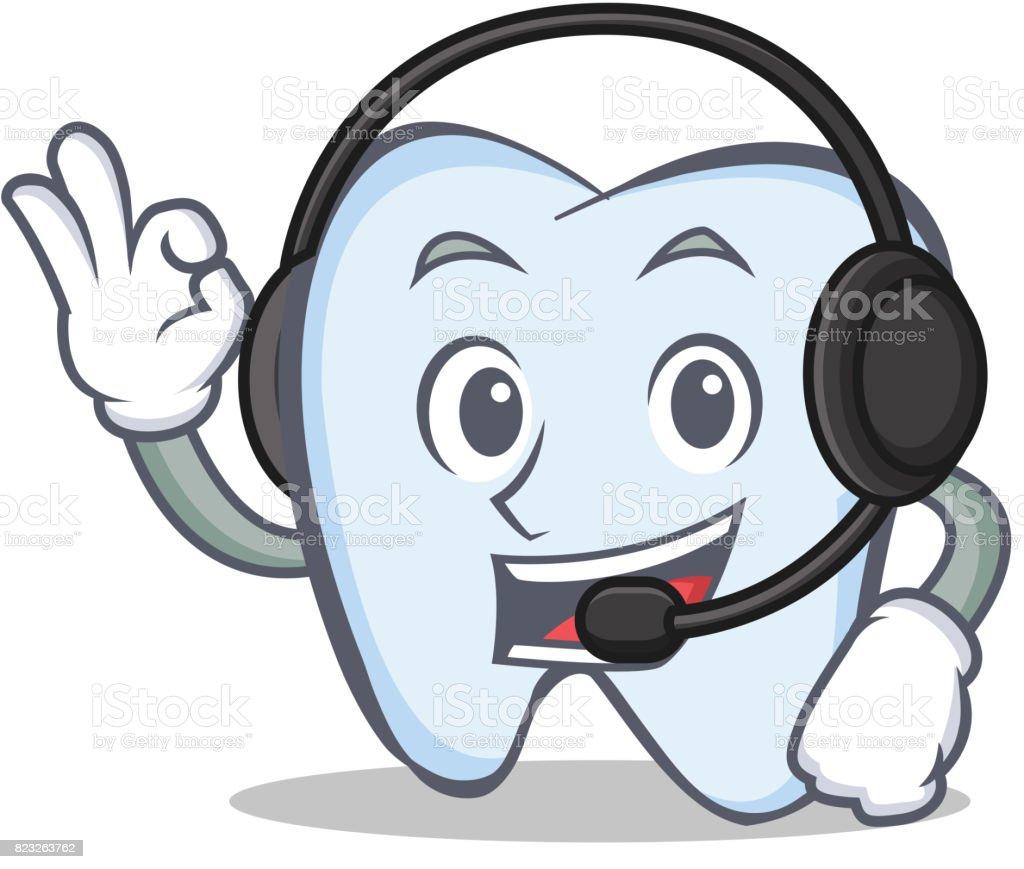 Diş Karakter Karikatür Tarzı Kulaklık Vektör çizim Ile Stok Vektör