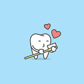Tooth character love with toothbrush illustration vector on blue background. Dental concept.