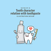 Tooth character relation with toothpaste illustration vector on blue background. Dental concept.