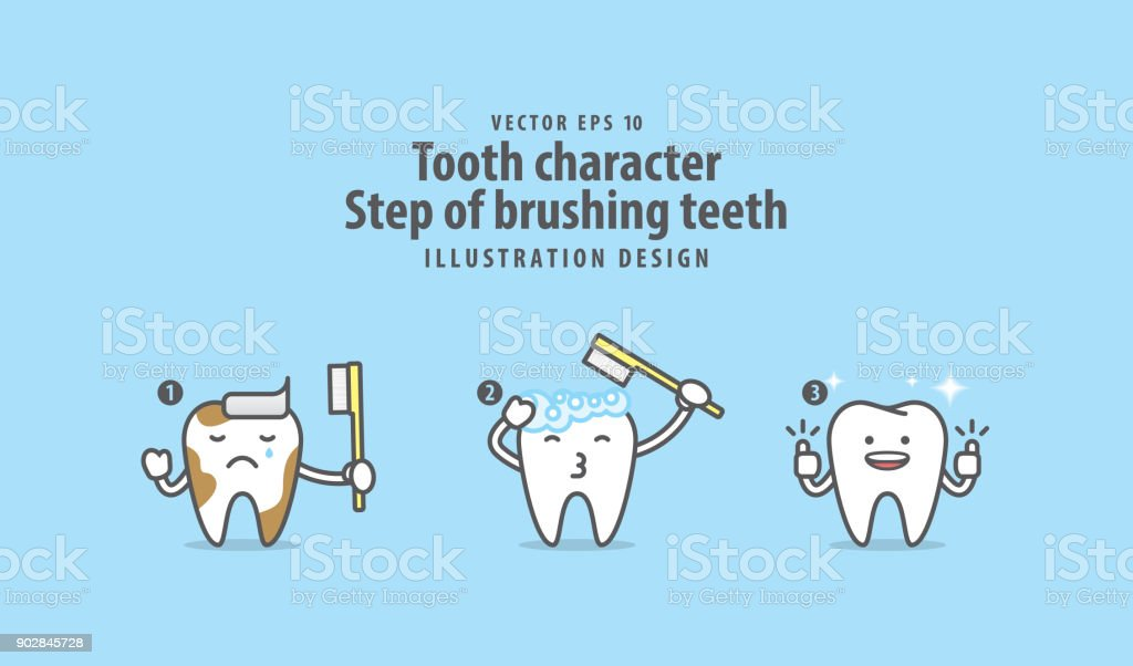 Tooth character Step of brushing teeth illustration vector on blue background. Dental concept. vector art illustration
