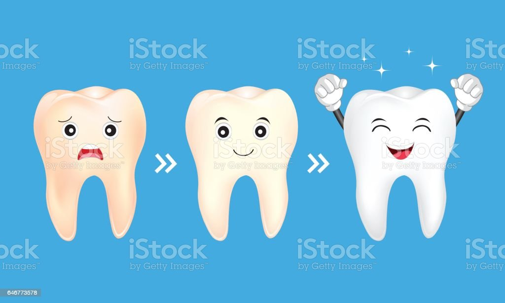 Tooth character whitening. vector art illustration