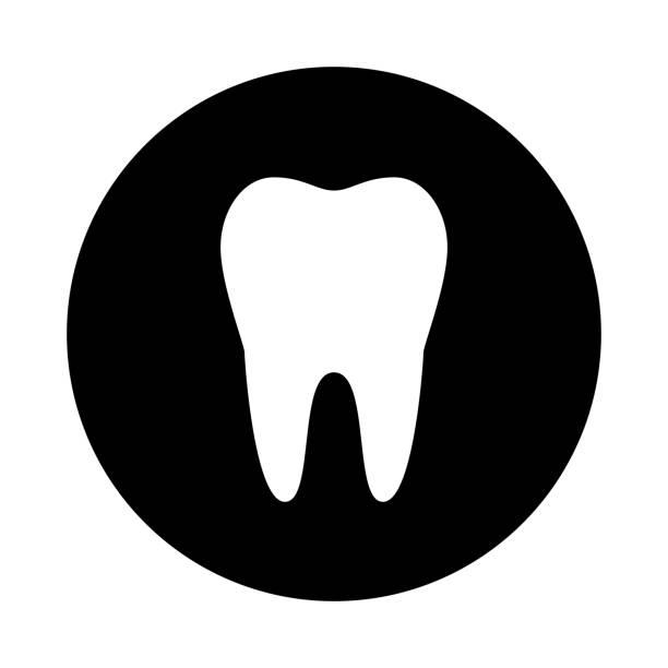 bildbanksillustrationer, clip art samt tecknat material och ikoner med tand cirkelsymbolen. svart, runda, minimalistisk ikonen isolerad på vit bakgrund. - molar
