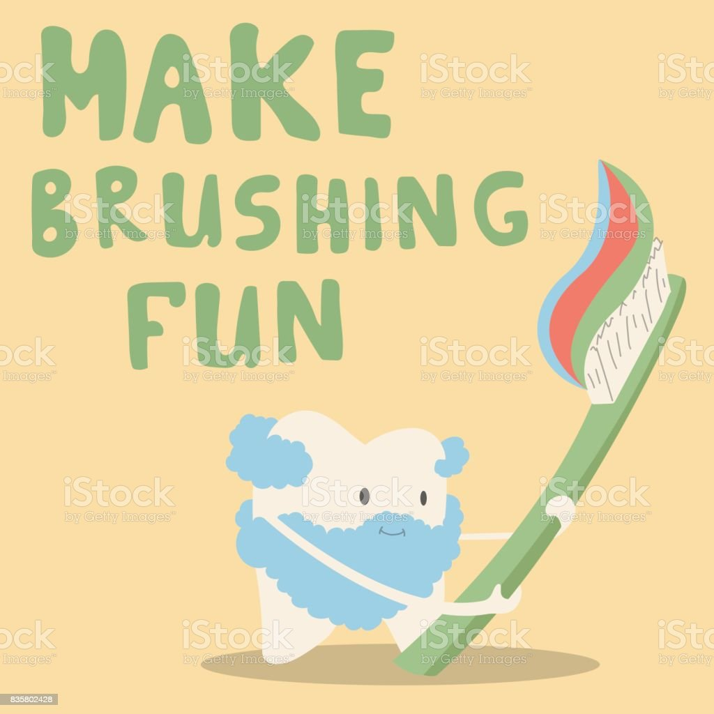 Tooth dances with a toothbrush. Make brushing fun vector art illustration