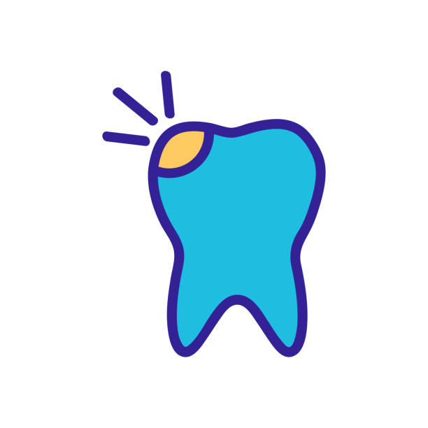 tooth decay on the teeth of the icon vector. Isolated contour symbol illustration tooth decay on the teeth of the icon vector. A thin line sign. Isolated contour symbol illustration streptococcus mutans stock illustrations