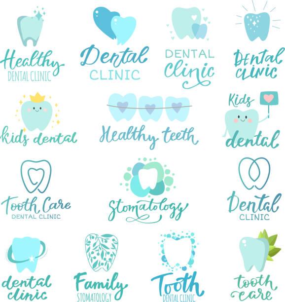 zahn dental logo vektor zahnarzt klinik toothcare symbol stomatologie text brief zahnmedizin pflege logo schriftzug set abbildung isoliert auf weißem hintergrund - zahnarzt logos stock-grafiken, -clipart, -cartoons und -symbole