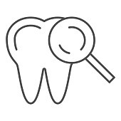 istock Tooth examination thin line icon, Medical tests concept, healthy teeth with magnifying glass sign on white background, Tooth under magnifier icon in outline style for mobile. Vector graphics. 1280259710