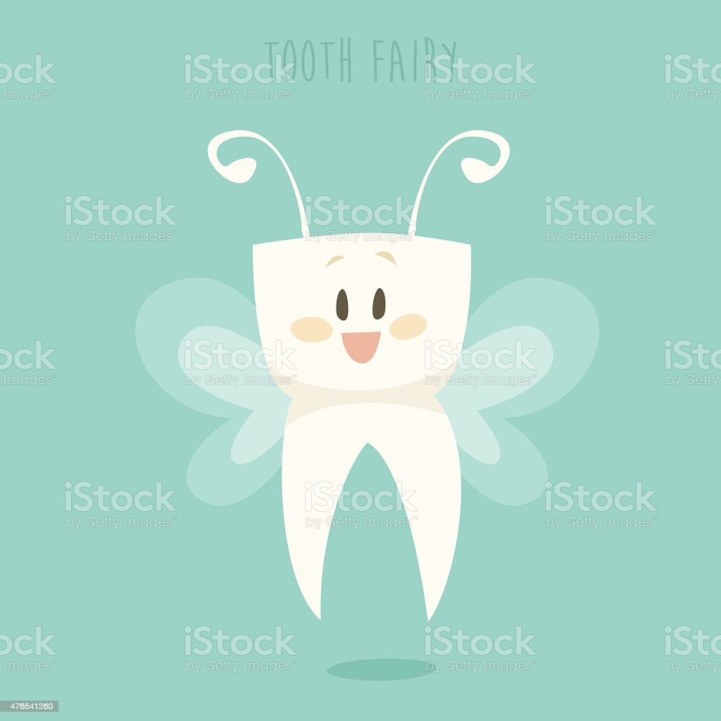 Tooth Fairy, Healthy Teeth Flat Design Vector vector art illustration